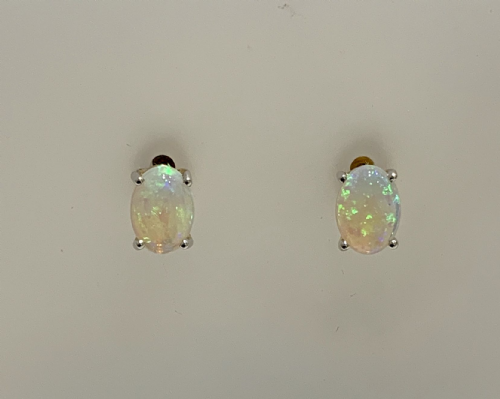Opal Yellow Gold Oval Stud Claw Set Earrings